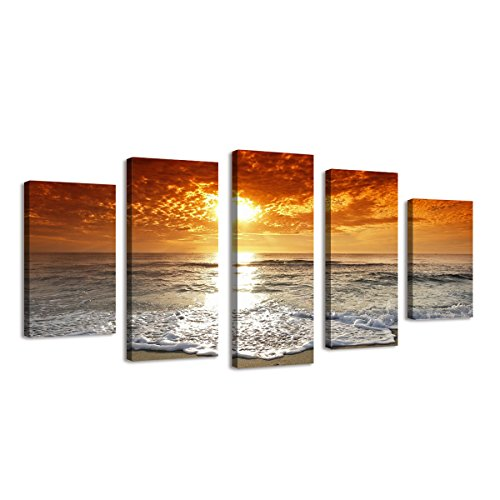 BIL-YOPIN Large 5 Panels Canvas Prints Stretched Canvas Printing Sea Beach Artwork Painting for Home Decor by BIL-YOPIN