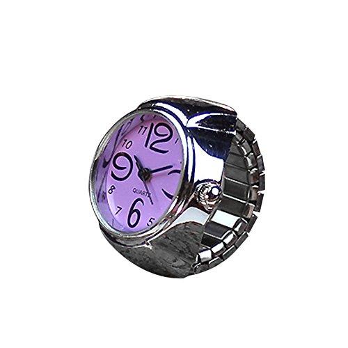 Couples Watch,Lovely Finger Dial Quartz Analog Watch Ring Elastic Quartz Watch Wristwatch Axchongery (Purple)