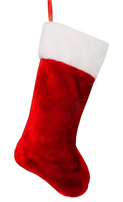 deluxe plush traditional father christmas stocking 18 inches red white large - Red And White Christmas Stockings