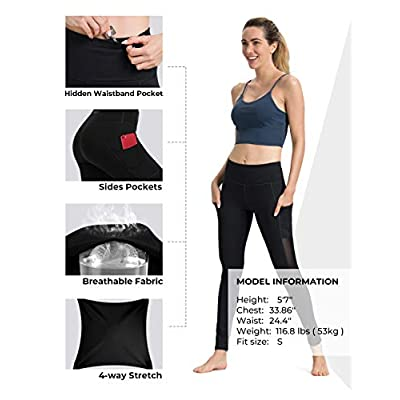 ALONG FIT Yoga Pants for Women with Pockets, Compression Workout Leggings Tummy Control: Clothing