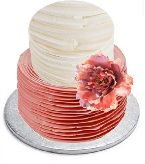 Elegant Wedding / Birthday Flower Cake Decoration Hand Crafted Fabric Topper 5inch Peach Mettalic Peony (Peony Wedding Cake)