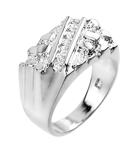 Modern Contemporary Rings Fine 10k White Gold Nugget Ring with Cubic Zirconias (Size 15)