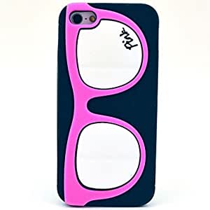 JOE Glasses Frame Pattern Silicone Soft Case for iPhone 5/5S (Optional Colors) , Black