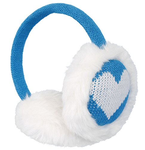 Simplicity Women's Winter Knitted Faux Fur Plush Earmuffs w/ Lined Trim (Blue) by Simplicity (Image #3)