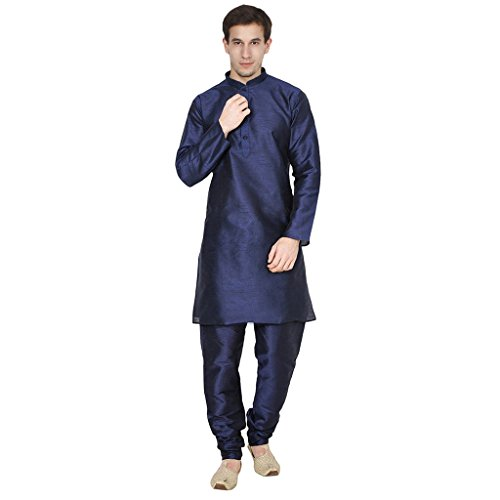 FOCIL Silk Blend Blue Men's Kurta Pyjama