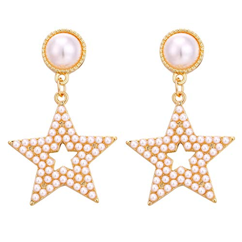 Beaded Drop Earrings For Women Bohemian Wire Wrapped Beaded Square Hoop Dangle Statement Earrings Pearl Geometric Rectangular Jewlery (Gold B)