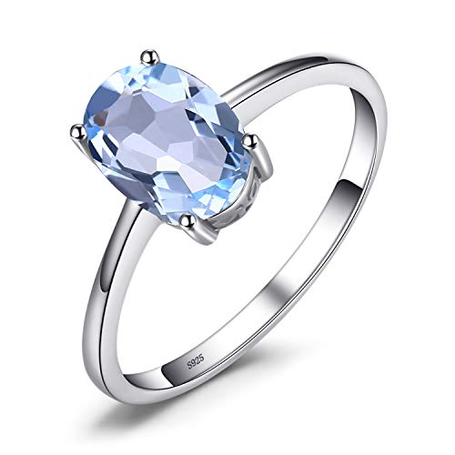 JewelryPalace 1.5ct Natural Gemstones Birthstone Blue Topaz Solitaire Engagement Ring for Women for Girls 925 Sterling Silver Oval Cut Size 7