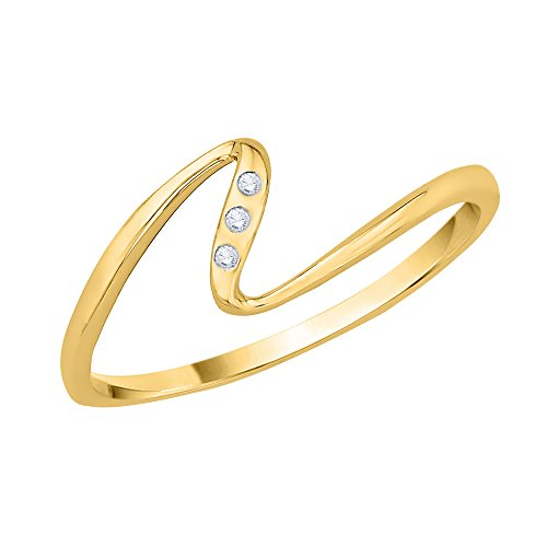 Diamond Accent Fashion Ring in 10K Yellow Gold (JK-Color, I1/I2-Clarity) (Size-3.5)