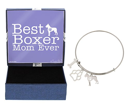 Best Boxer Mom Ever Bracelet Gift Love Dog Breed Silhouette Adjustable Bangle Charm Silver-Tone Bracelet Gift Boxer Owner Jewelry Box Idea A Rescue Dog Mom