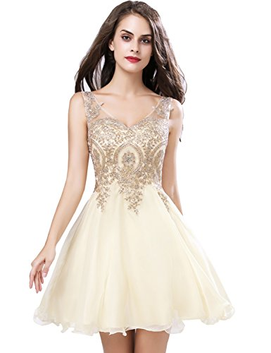 cf105e34ff1b ... Chiffon Prom Ivory Homecoming Dress Short Junior Party Dresses 2018 V  Neck Ball Gown Gold Lace Apppiqued. ; 