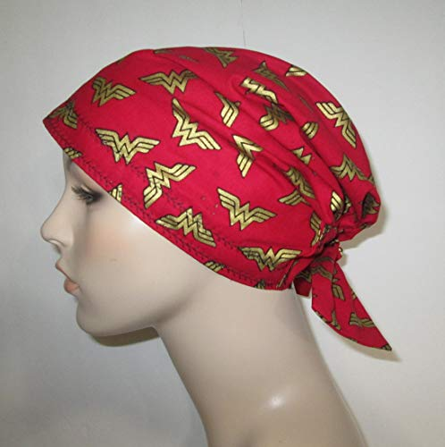 Wonder Woman Logo Scrub Cap Chemo Hat Alopecia Head Cover Cancer Scarf ()
