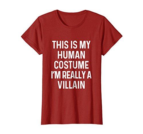 Womens Funny Villain Costume Shirt Halloween Small