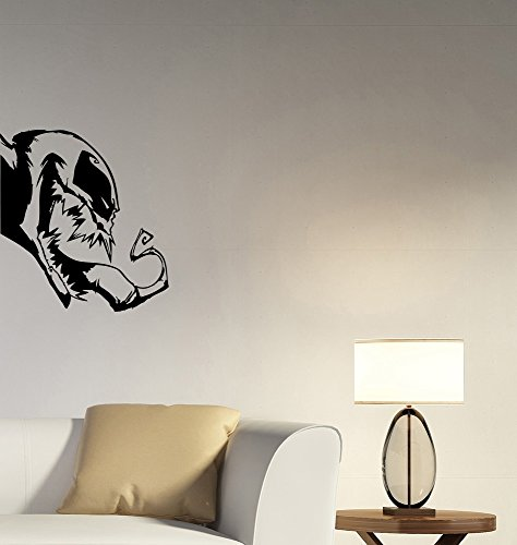 Venom Head Wall Decal Marvel Comics Superhero Vinyl Sticker Spiderman Anti Hero Art Movie Comic Book Decorations for Home Kids Boys Room Bedroom Decor vm1 (Spider Wall Appliques Man)