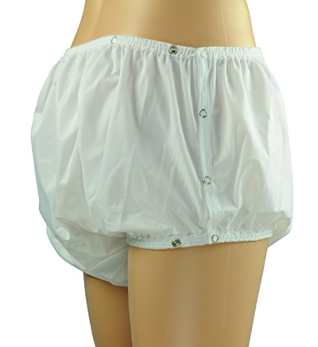ObboMed® MT-3312 Snap-On Reusable Washable Underwear, Waterproof Incontinent Underpants, Cover-up Diaper for Patients, Elders, Adult Men and Women - White (L: 34 - 40 inches)