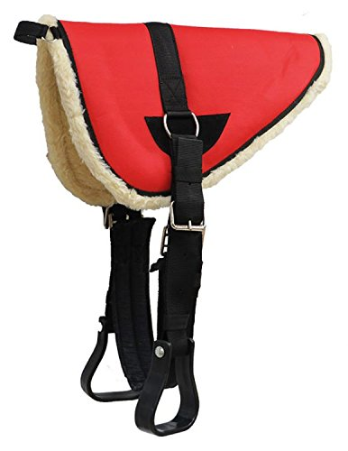 Showman Youth Pony Bareback Pad with Kodel Fleece Bottom with Stirrups and Girth (Red)