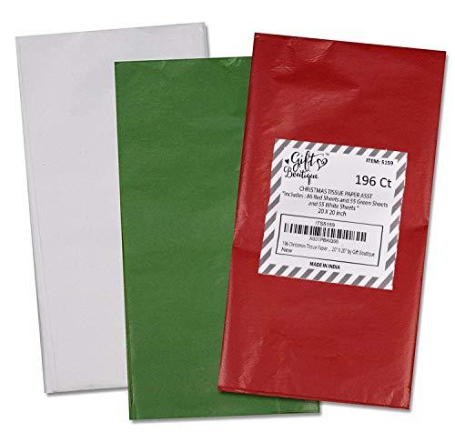 196 Christmas Tissue Paper Assortment; 86 Red, 55 Green & 55 White; 20