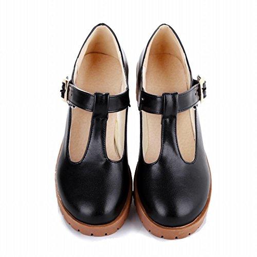 Latasa Women's Fashion T-Strap Mid-Heel Platform Mary Janes Shoes (10, ()