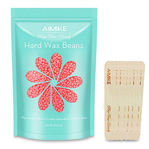 AIMIKE Hard Wax Beans, Stripless Depilatory Wax Beads, Large Bag 1.32 lb/600g Refill, Smooth Facial and Body Hair Removal Wax for Women and Men, with 10pcs Wooden Spatulas