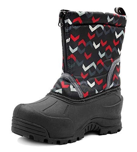 Northside Kid's Icicle Winter Snow Boot, Black/Red, 6 M US Toddler -