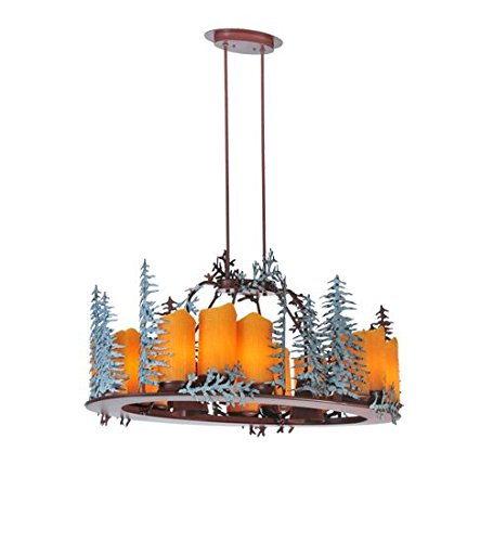 Meyda Tiffany Custom Lighting 29523 Tall Pines 14-Light Oval Chandelier, Rust Finish with Green Trees and Amber Simulated Was Candle Shades (14 Light Oval Chandelier)