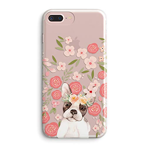 iPhone 5s Girls Case,iPhone SE Women Case,Pink Flowers Floral Blooms Funny Puppy Dog Impact Animal Print French Bulldog Trendy Vintage Rose Daisy Compatible Clear Soft Case for iPhone 5s/SE/5