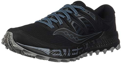 Saucony Men's Peregrine ISO Trail Running Shoe, Black/Grey, 11 M US