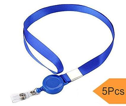 Acollador Correa con Retráctiles Carretes, 5Pcs Llaveros Cordones Correa para el cuello Banda para portatarjetas de identificación (Azul)