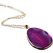 Beuu 2018 Hot New Models Natural Agate Original Stone Colorful Pattern Necklace Round Women Men Jewelry Trendy Necklaces