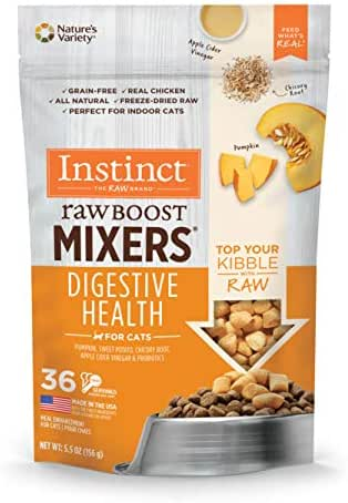 Instinct Freeze Dried Raw Boost Mixers Grain Free Digestive Health Recipe All Natural Cat Food Topper by Nature's Variety, 5.5 oz. Bag