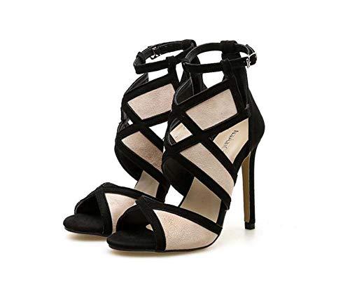 Estilete Mujeres Zapatos Tamaño Beige Colormatch Casual 35 UE 11Cm Vestido Bomba Toe Alto Zapatos Peep Tacón Sandalias 40 De Corte KHAKwq1S8