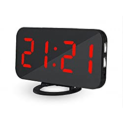 UBMSA Electric Alarm Clock, 6.5 Large Number Digital Alarm Clock Mirror Led Table Clock with Adjustable Brightness, 2 USB Charging Ports,Big SNOOZE Button for Bedroom Living Room Decor (Red)