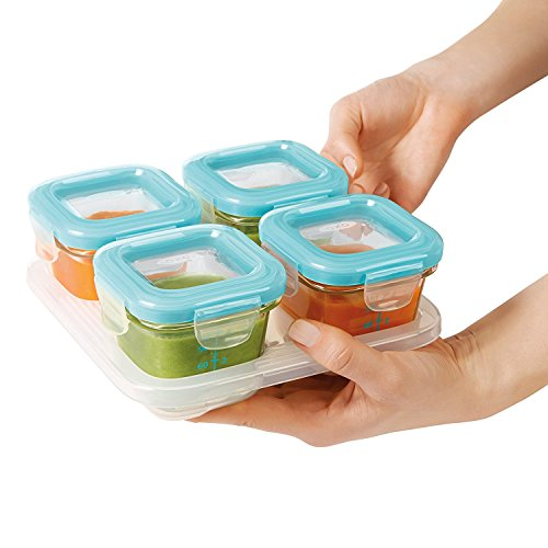 OXO Tot Glass Baby Blocks Food Storage Containers, Aqua (Set of 16) by OXO (Image #2)
