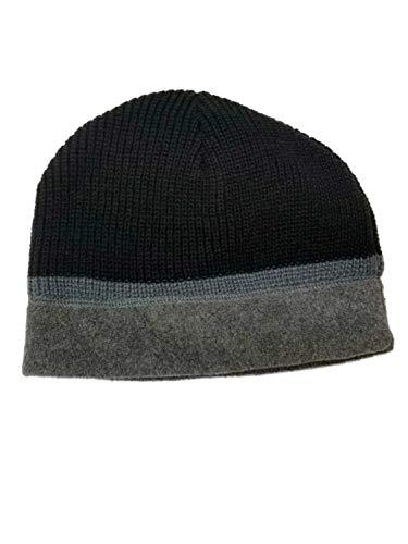 (Northcrest Men's Black and Grey Winter Reversible Beanie Stocking Cap Hat)