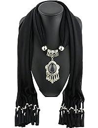 Urban CoCo Women's Necklace Scarf Drop Pendant Beads Bohemian Tassel Shawl (Black-1)