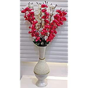 ARTSY Artificial Flowers for Home Decoration Cherry Blossom Combo Pack of Two (7 Branches) VASE NOT Included