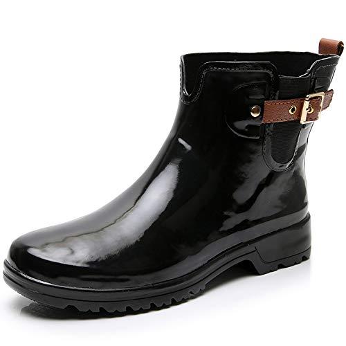 213b85972439f TRIPLE DEER Glossy Black Women's Short Rain Boots Girls Ankle Rubber  Chelsea Booties Ladies Rain Shoes Rain Footwear