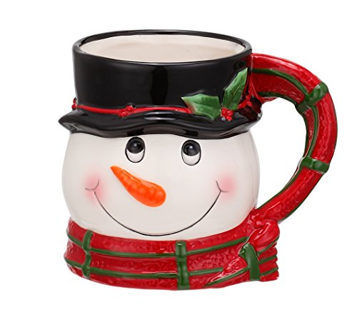 Snowman Top Hat and Scarf 12 ounce Ceramic Stoneware Christmas Mug