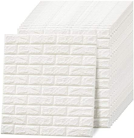 White Brick three-D Wall Panels PE Foam Panel 113.8 sq. toes Peel and Stick Wallpaper Self Adhesive three-D Textured Wallpanel for Kids TV Living Room Bedroom, 2.52ft x 2.3ft x 20 Pack