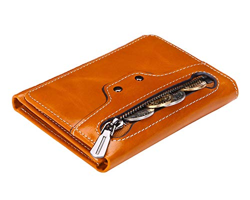(AINIMOER Women's RFID Blocking Small Compact Tri-Fold Leather Zip Pocket Wallet Clutch Organizer Ladies Travel Purse Mini Purse with ID Window(Waxed Camel))