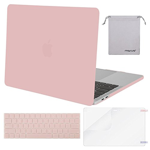 Mosiso MacBook Pro 13 Case 2017 & 2016 Release A1706 / A1708, Plastic Hard Case Shell with Keyboard Cover with Screen Protector with Storage Bag for Newest MacBook Pro 13 Inch, Rose Quartz