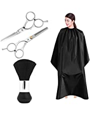 Professional Hair Cutting Scissors Set, SourceTon Light Weight Extra LongCape (55 inch X 47 inch), Neck Duster Brush, Straight & Teeth Scissors, Perfect for Barbershop and Salon