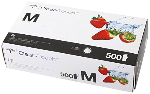 Medline CLE199095 Clear-Touch Polyethylene Disposable Gloves, Latex Free, Medium (Pack of 5000) by Medline
