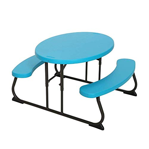 Superior Strength,Durable,Stain Resistant and Easy to Clean Lifetime Oval 1-Piece Glacier Blue Kids Picnic Folding Table,Sits 4 Kids,Folds Flat for Easy Storage and Transportation