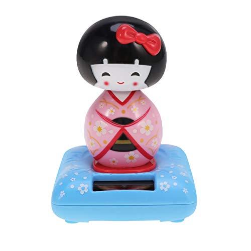 AMOSFUN 태양 전원 보블 떨고 머리 춤 장난감 일본 KOKESHI 인형 인형 동상 자동차 대시 보드 장식 핑크