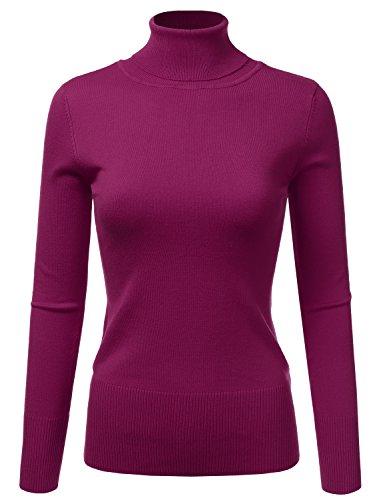 Doublju Basic Long Sleeve Ribbed Knit Turtleneck Sweater For Women Magenta Medium (Womens Ribbed Turtleneck)