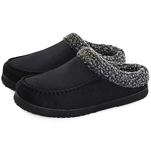VLLY Men's Soft High Density Memory Insoles Comfort Anti-Slip Rubber Sole Indoor Outdoor Slippers US 11 Black