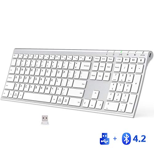 iClever Bluetooth Keyboard - 2.4G Wireless Keyboard Rechargeable Bluetooth 4.2 + USB Multi Device Keyboard, Ultra-Slim Full Size Dual Mode White Keyboard for Mac, iPad, iPhone, Windows, Android, iOS