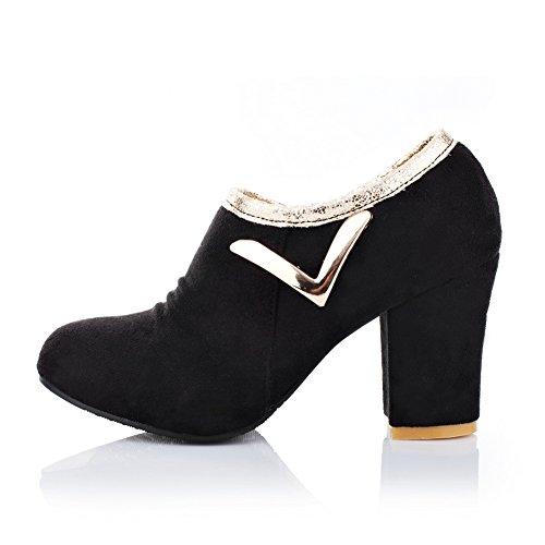 BalaMasa Womens Zipper Chunky Heels Round-Toe Suede Pumps-Shoes Black TroE0