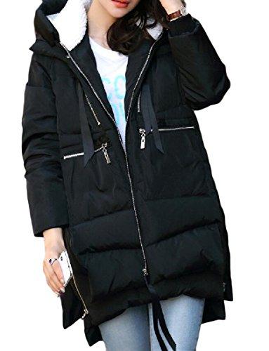 Women Slim Hooded Thicken Cotton Padded Coat Hoodies Black - 6