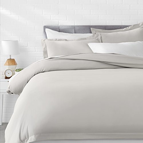 AmazonBasics Light-Weight Microfiber Duvet Cover Set with Snap Buttons - Full/Queen, Light Grey